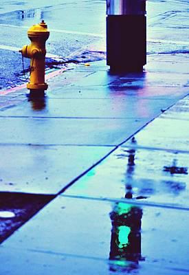Fire Hydrant Mixed Media - Green Lights by Isabel Medina