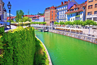 Photograph - Green Ljubljanica River Architecture View In Ljubljana by Brch Photography