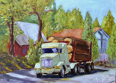 North Fork Painting - Green Logger by Mary Beth Harrison