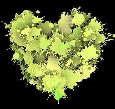 Abstract Digital Art - Green Love 1 by Alberto RuiZ