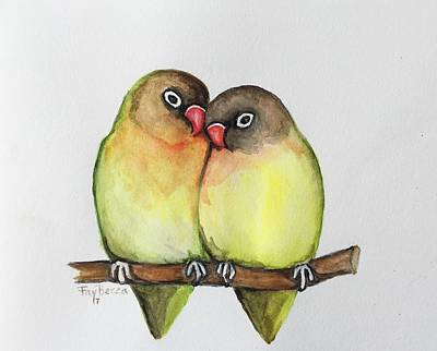 Painting - Green Love Birds by FayBecca Designs