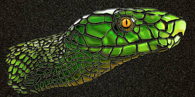 Digital Art - Green Mamba Snake by Michael Cleere