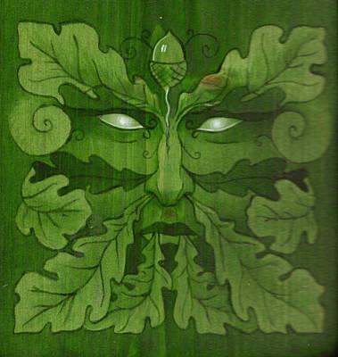 Greenman Painting - Green Man Dryad by Yuri Leitch
