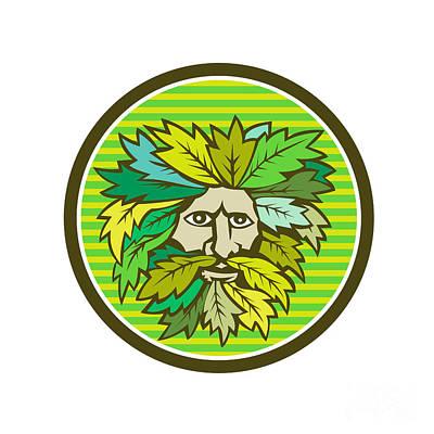 Greenman Digital Art - Green Man Foliate Head Circle Retro by Aloysius Patrimonio