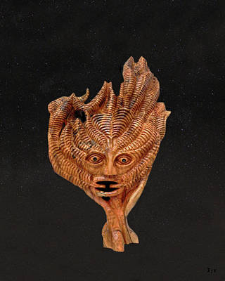 Olive Wood Sculpture Mixed Media - Green Man In The Stars by Eric Kempson