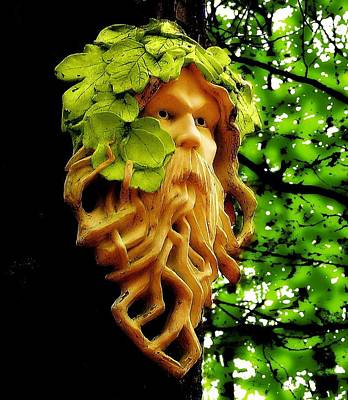 Green Man Art Print by Jen White