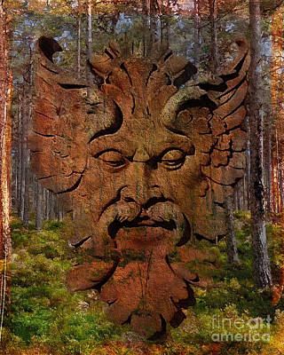 Digital Art - Green Man Of The Forest 2016 by Kathryn Strick
