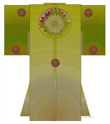 Green Mandala Kimono Art Print by Lydia L Kramer