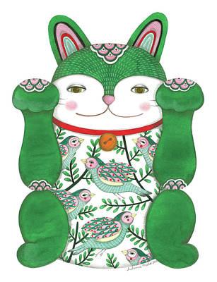 Wall Art - Drawing - Green Maneki-neko by Helena Melo