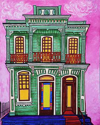 Corbels Painting - Green Mansion On Esplanade by Aleta Kim Lawton