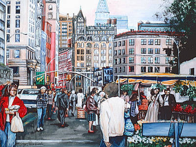 Green Market Revelers At Union Square Original by Gaye Elise Beda