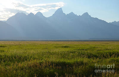 Great Outdoors Photograph - Green Meadow Beneath Grand Teton Mountain Range Outdoor Western Scenic Wyoming by Shawn O'Brien