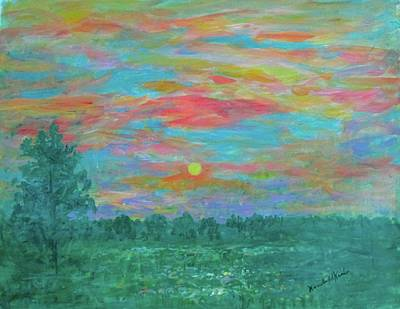 Painting - Green Meadow Mist Stage One by Kendall Kessler