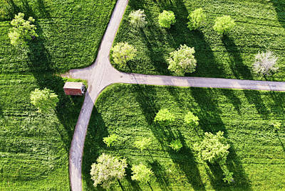 Photograph - Green Meadow With Trees And Shadows Aerial View by Matthias Hauser