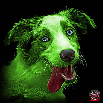 Painting - Green Merle Australian Shepherd - 2136 - Bb by James Ahn