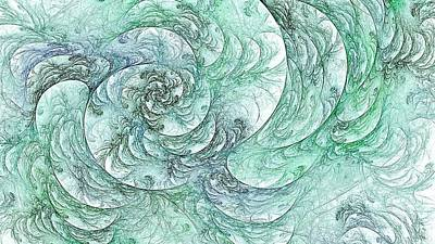 Digital Art - Green Mint Floral Spiral by Doug Morgan