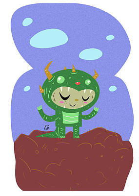 Green Monster Boy #1 Art Print by Cesar Diaz