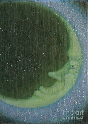 Moonface Painting - Green Moon by Suzn Smith