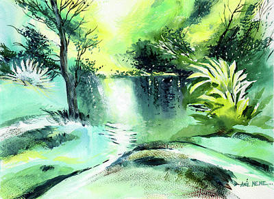 Painting - Green Morning 2 by Anil Nene