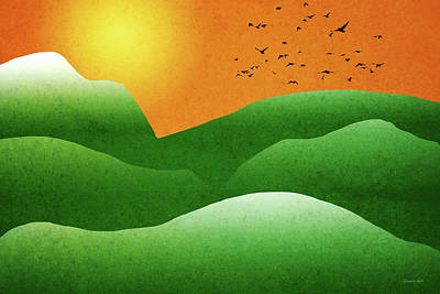Mixed Media - Green Mountain Sunrise Landscape Art by Christina Rollo
