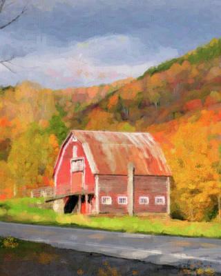 Green Mountains Barn Art Print by Betty LaRue