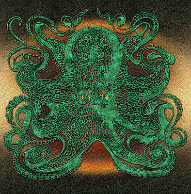 Digital Art - Green Octopus by Patricia McNaught Foster