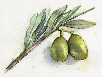 Olives Wall Art - Painting - Green Olives On A Branch  by Olga Shvartsur