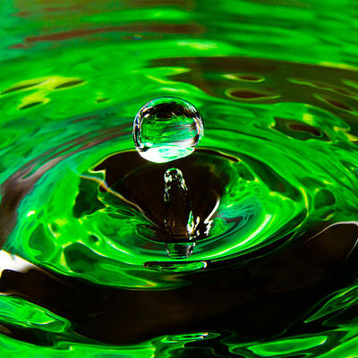 Photograph - Green Orb Water Drop by Steven Green