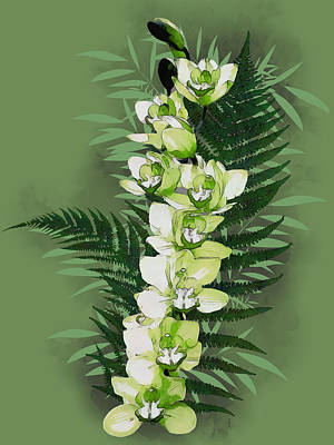 Digital Art - Green Orchid by Mariella Wassing