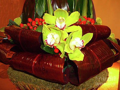 Photograph - Green Orchids And Red Berries Arrangement by Merton Allen