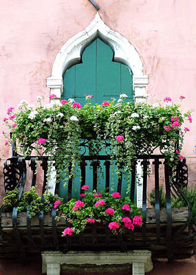 Green Ornate Door With Geraniums Art Print by Donna Corless