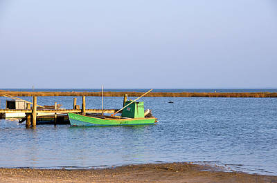 Photograph - Green Oyster Boats by Jan Amiss Photography