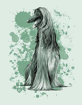 Drawing - Green Paint Splatter Afghan Hound by John LaFree
