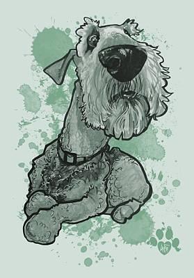 Drawing - Green Paint Splatter Airedale Terrier by John LaFree