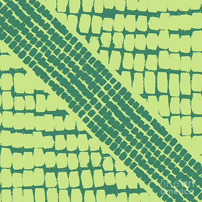 Painterly Drawing - Green Painterly Pattern by Stephanie Troutner