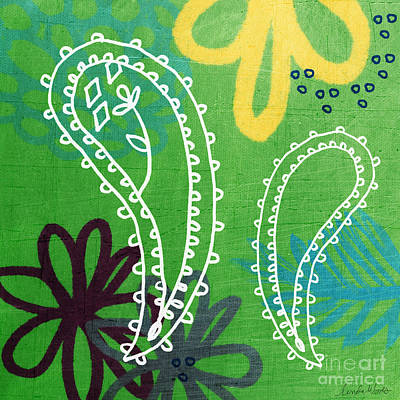 Green Painting - Green Paisley Garden by Linda Woods