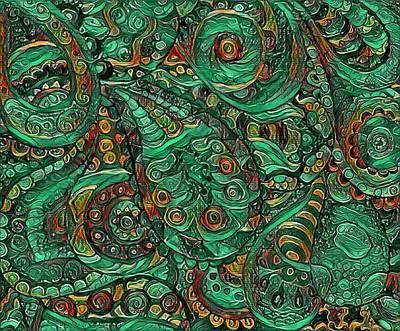 Digital Art - Green Paisley by Megan Walsh