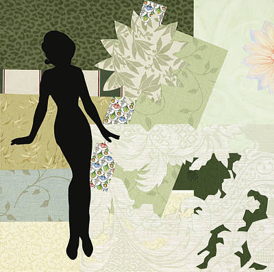 Little Girls Room Mixed Media - Green Paper Doll by Katia Von Kral