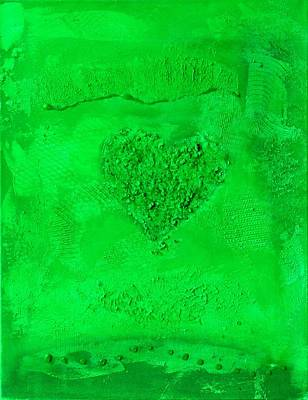 Painting - Green Paper Heart - Variation by Alexandra Schumann
