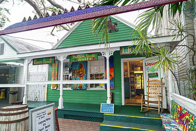 Comics Royalty-Free and Rights-Managed Images - Green Parrot Spirits Key West by Betsy Knapp