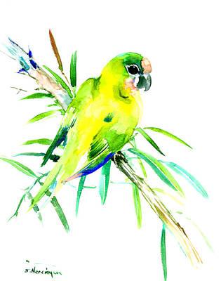 Amazon Jungle Painting - Green Parrot by Suren Nersisyan