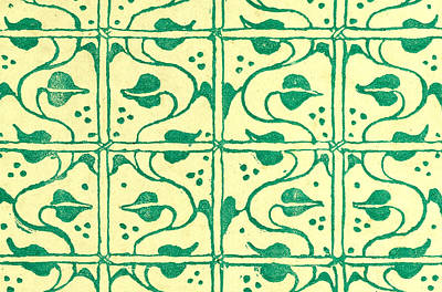 Walter Crane Drawing - Green Pattern by Walter Crane