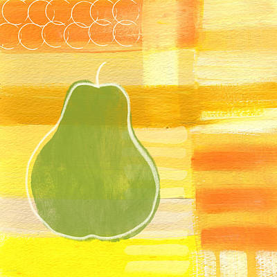 Green Pear- Art By Linda Woods Art Print by Linda Woods