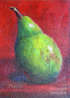 Painting - Green Pear Still Life by Carolyn Jarvis