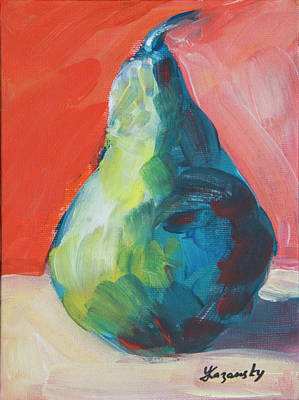 Painting - Green Pear With Red Wall by Yulia Kazansky