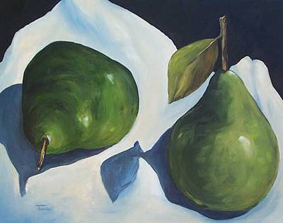 Green Pears On Linen - 2007 Art Print by Torrie Smiley