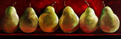 Wall Art - Painting - Green Pears On Red by Toni Grote