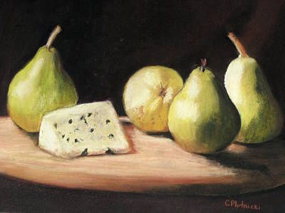 Pastel - Green Pears With Cheese by Cindy Plutnicki