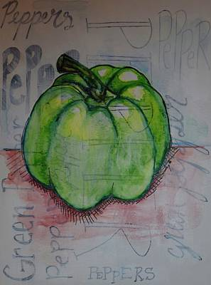 Pepper Painting - Green Pepper by Anne Seay