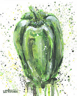 Painting - Green Pepper by Arleana Holtzmann